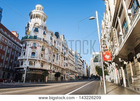 MADRID, SPAIN - November 8, 2015: View Gran Via - one of the main streets on November 8, 2015 in Madrid