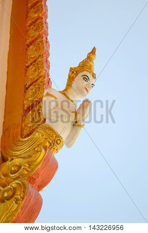 close up angle statue in temple thailand