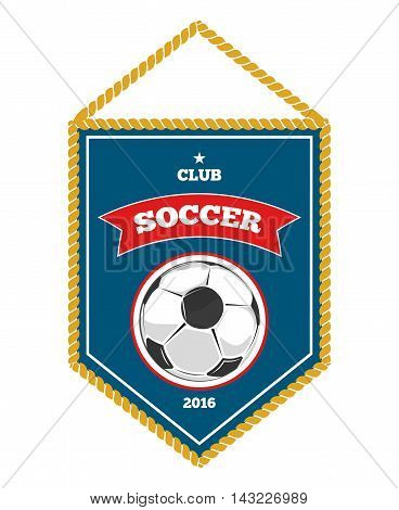Blue soccer pennant isolated white. Flag banner for football club. Vector illustration