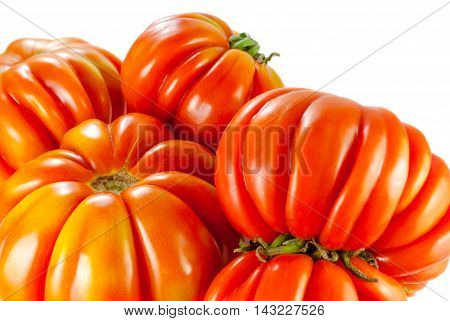 costoluto genovese tomato, a few fresh tomatoes, closeup on white background, selective focus