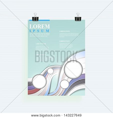 elegant poster template design with glossy wave elements