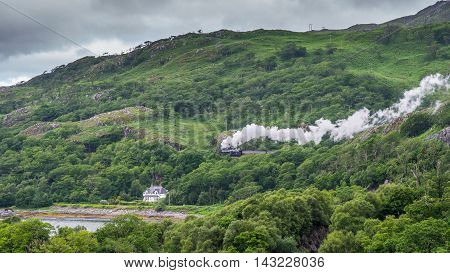 The Jacobite on its way to Mallaig on west coast of Scotland