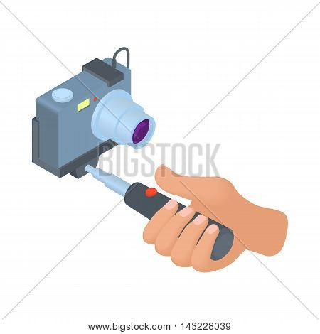 Hand holding selfie stick with camera icon in cartoon style isolated on white background. Device symbol