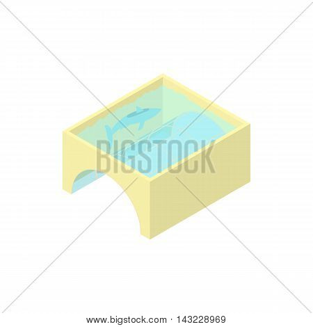 Aquarium icon in cartoon style isolated on white background. Fish symbol