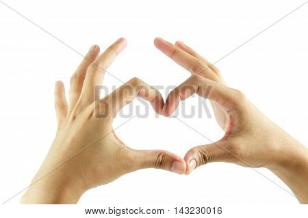 Heart shaped hands isolated on white background.