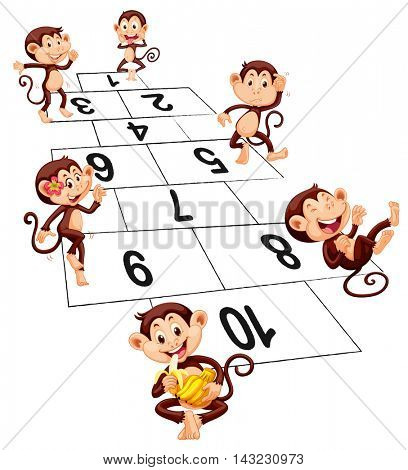 Six monkeys playing hopscotch illustration
