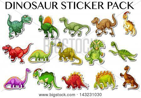 Different kinds of dinosaurs in sticker design illustration