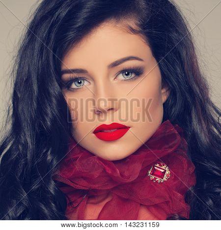 Long сurly brunette hair woman fashion model portrait