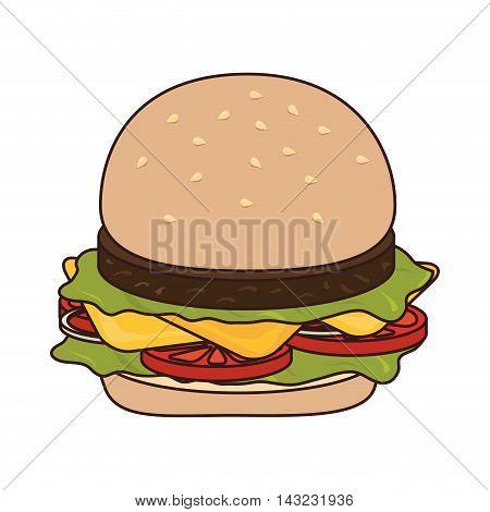 hamburguer fast food american burger deliveryfood tasty vector illustration