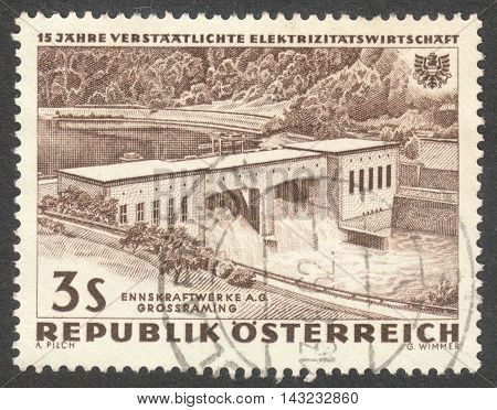 MOSCOW RUSSIA - CIRCA JUNE 2016: a post stamp printed in AUSTRIA shows Electricity Station Grobraming the series