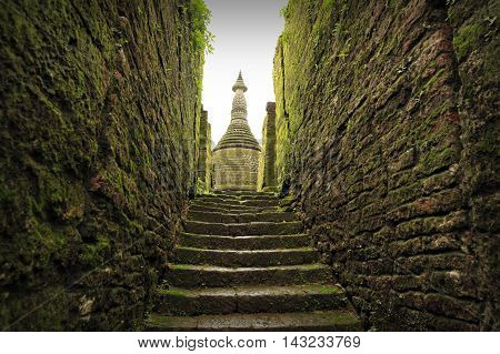 Stairway To Buddhist Sanctuary Of Koetaung, The Temple Of The 90,000 Buddhas, Built By King Min Dikk