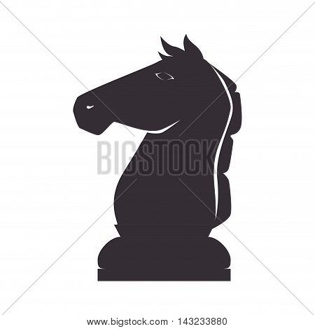 knight chess piece game win focus chessboard strategy silhouette vector illustration