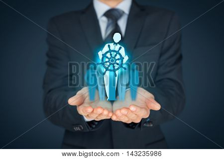 Business improvement and development concept. Captain (symbol of team leader) change direction to improve company performance.
