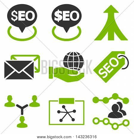 Seo vector icons. Pictogram style is bicolor eco green and gray flat icons with rounded angles on a white background.