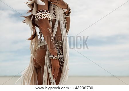 Сlose up of attractive wild boho woman