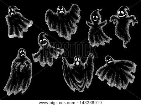 Halloween funny comic ghosts icons. Chalk cartoon bogey and spooks characters on blackboard with face expressions smiling, laughing, scared, angry, indifferent, serious, shy, dancing, levitating