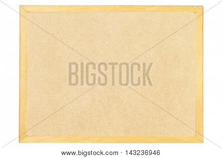 Blank Bulletin Board With Wooden Frame on White Background