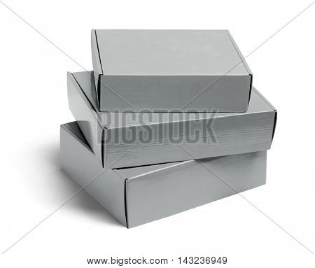 Stack of Three Cardboard Boxes on White Background