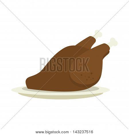 chicken roaster plate restaurant gourmet cooking food vector illustration