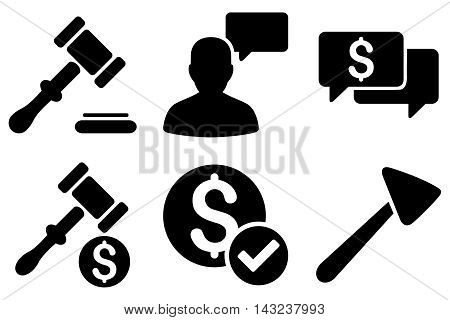 Auction vector icons. Pictogram style is black flat icons with rounded angles on a white background.