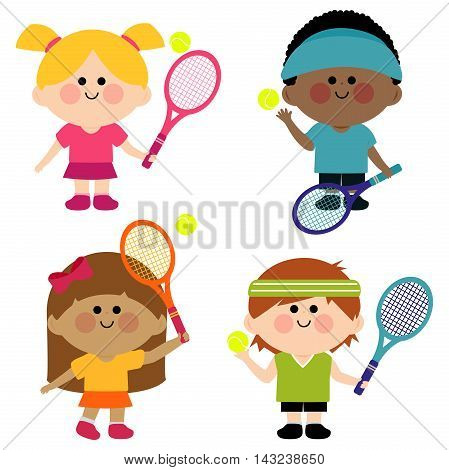 Children playing tennis with rackets and tennis balls.