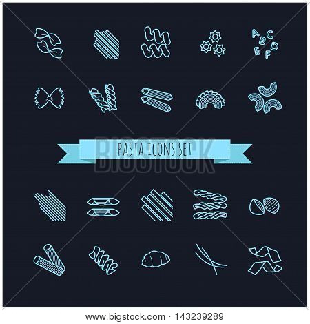 set of various pasta icons for your design