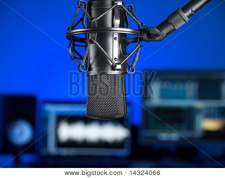 Inside the music recording studio ,focus on the microphone ,for music production,audio,entertainment themes poster