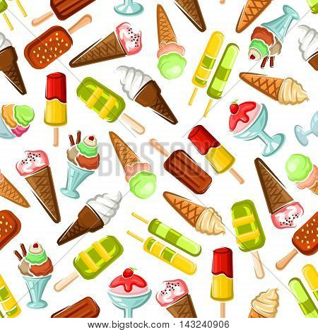 Ice cream seamless wallpaper. Background with pattern of color ice cream desserts. Eskimo pie, slushie, frozen ice, sorbet, gelato, sundae, scoops in cones and cups for cafe or restaurant menu, decoration