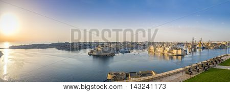 Panoramic view over the Grand Harbour with Saluting Battery cannons, Valletta - Malta