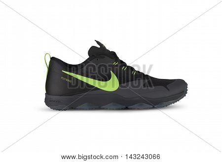 CHISINAU MOLDOVA - August 16 2016: Nike brand sports new running shoes for men closeup on a white background. With clipping path