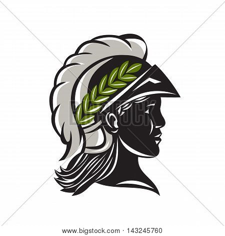 Illustration of Minerva or Menrva the Roman goddess of wisdom and sponsor of arts trade and strategy wearing helmet and laurel crown head in a silhouette viewed from side set on isolated white background.