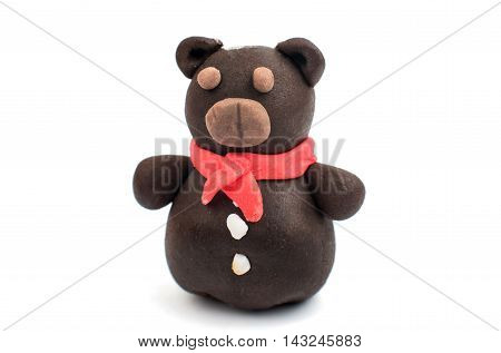 bear with marshmallows on a white background