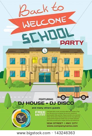 Vector school party invitation disco style. Meeting of graduates, high school students. Building in park with bus on the background of the city