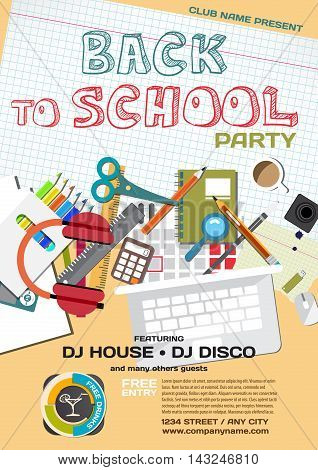 Vector school party invitation disco style. Meeting of graduates, high school students. School items, stationery
