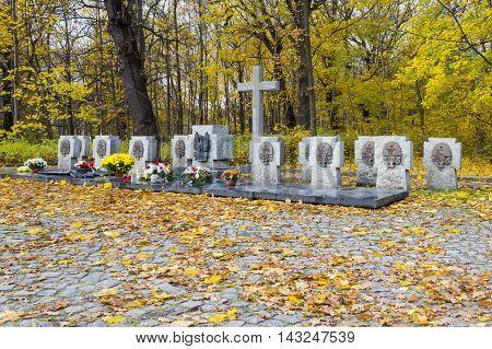 GDANSK, POLAND - NOVEMBER 7: The graves of Polish soldiers on the Westerplatte on November 7, 2010 in Gdansk.