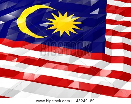 Flag Of Malaysia 3D Wallpaper Illustration