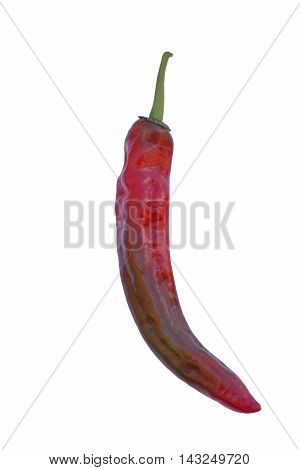 Cayenne pepper (Capsicum annuum Cayenne pepper). Called Guinea spice Cow-horn pepper Red hot chili pepper Aleva and Bird pepper also. Image of single pepper isolated on white background