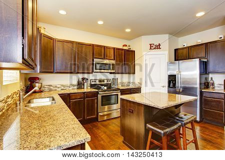 Kitchen Room Interior With Deep Brown Cabinets, Hardwood Floor