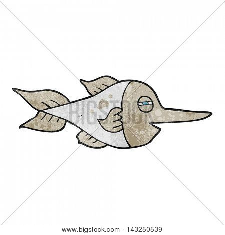freehand drawn texture cartoon swordfish