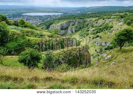 View of Cheddar Gorge and beyond, from the top of the cliffs.