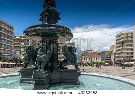 Fountain at King George I Square in Patras, Peloponnese, Western Greece