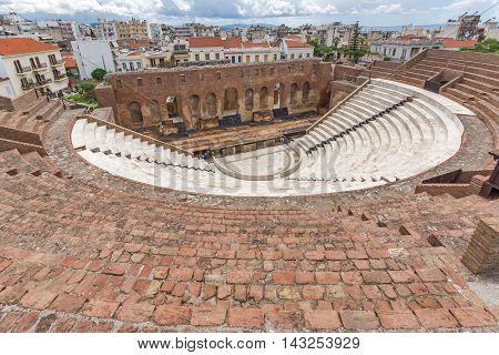 Panoramic view of Amphitheater in Roman Odeon, Patras, Peloponnese, Western Greece
