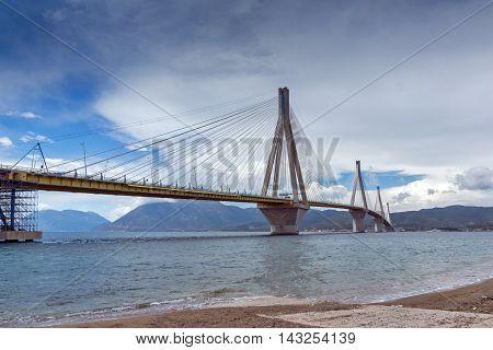 Panorama of The cable bridge between Rio and Antirrio, Patra, Western Greece
