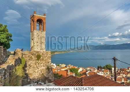 Sunset view of Clock tower in Nafpaktos town, Western Greece