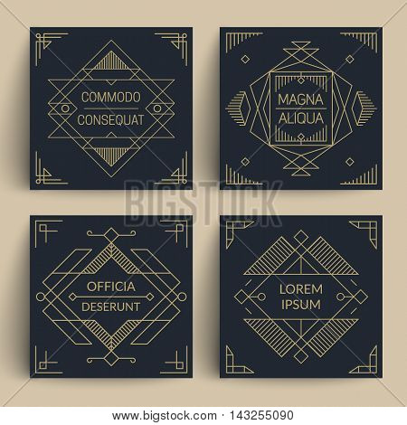 Trendy geometric frames and borders. Line art decor on dark backgrounds. Eps10 vector.