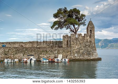 Fortification at the port of Nafpaktos town, Western Greece poster