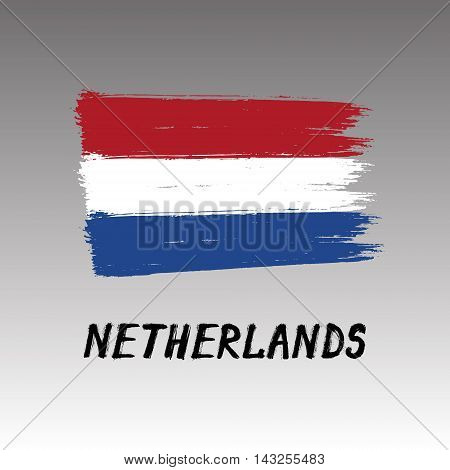 Flag Of Netherlands - Color Grunge Icon
