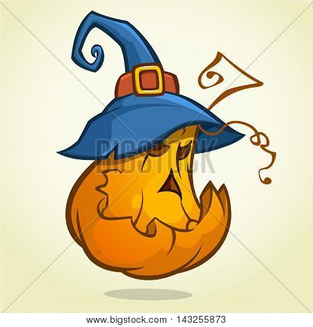 Jack-O-Lantern. Halloween pumpkin with blue witches hat. Vector illustration.