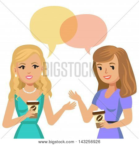 Two young women talking in cafe. Gossip girls. Meeting friends. Vector illustration