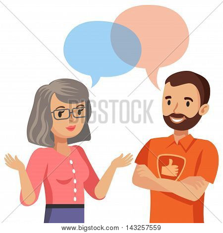 Woman talking with a computer specialist. Vector illustration